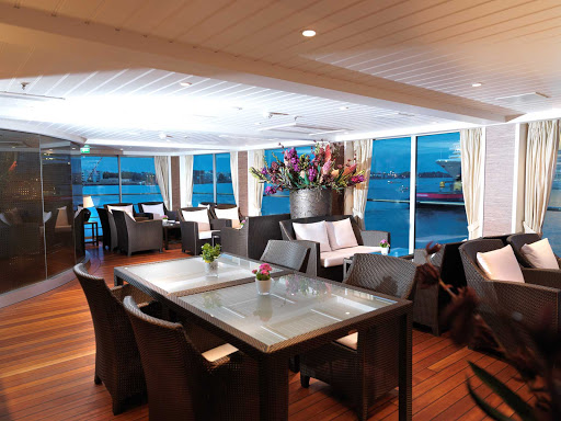 AmaDolce-Aft-Lounge-Sitting-Area - Spend time with your partner or meet new friends in the lounge of AmaDolce. The river cruise ship's itineraries include France, Luxembourg, Germany, Hungary and Prague, the Czech Republic.
