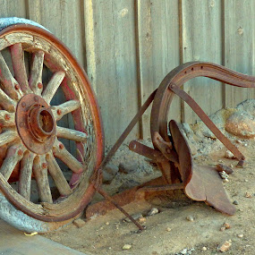 Wheel and Plow by Dale Fillmore - Artistic Objects Other Objects ( desert relics, wheel, artistic, plow, old fashioned tools )