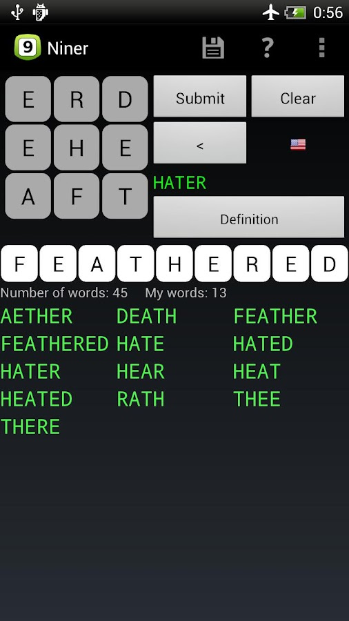 Niner Word Game- screenshot