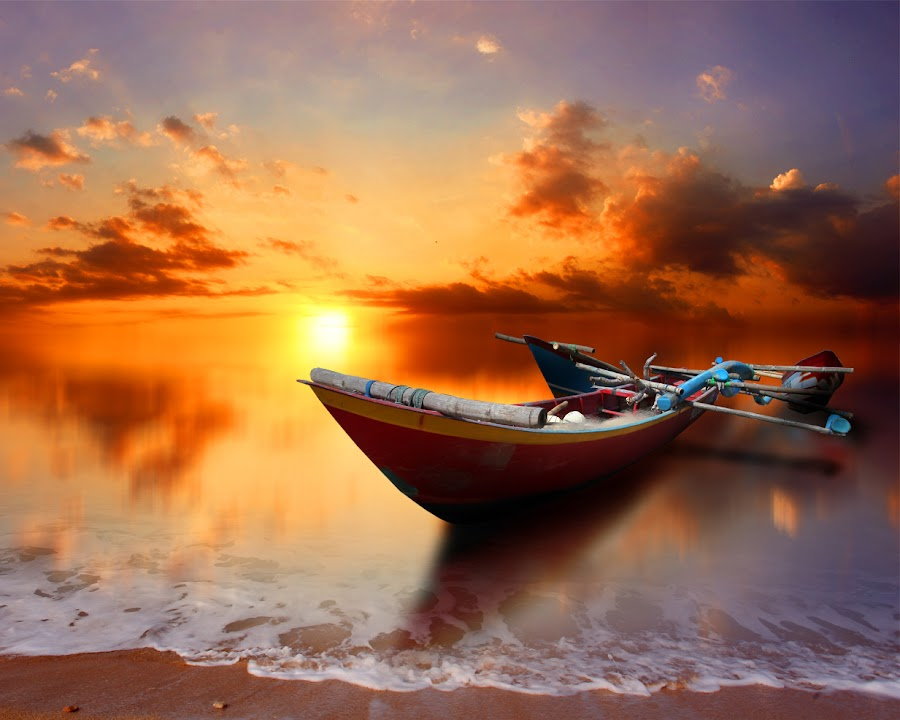 perahu by Indra Prihantoro - Transportation Boats ( sunset, boats )