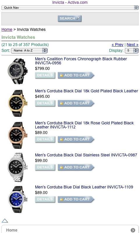 Invicta Brand Watches - screenshot
