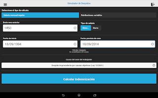 Screenshot of Simulador de despido y ceses
