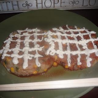Potato Okonomiyaki with Teriyaki Mayo Sauce.