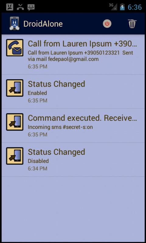 DroidAlone - Missed Calls - screenshot