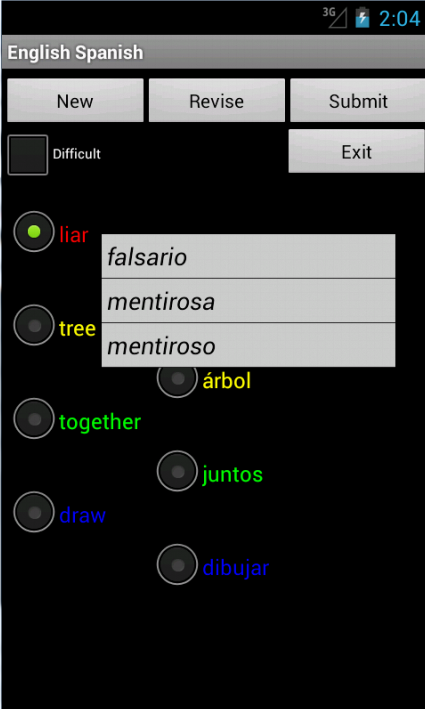 English Spanish Tutor - screenshot