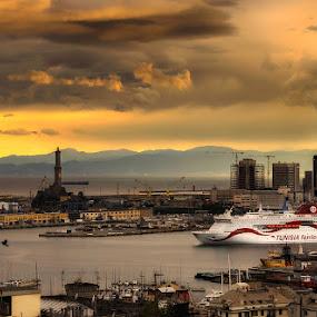 Sunset over Genoa by Geanina Boureanu - Landscapes Sunsets & Sunrises