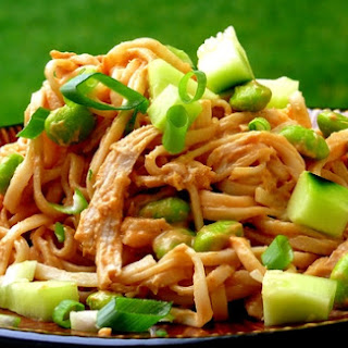Cold Peanut Soba Noodles with Chicken.