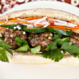 Banh Mi with pork meatballs.