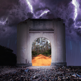 through to next world by Tracey Macnish - Digital Art Places ( lightning, forrest, stars, arch-way, gloomy )