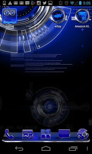 GO Launcher Theme Blue Krome