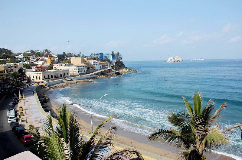 South Mazatlan beach and islands, with morning waves, as seen from the Belmar Hotel, Sinaloa, Mexico.