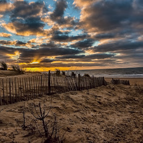 Formby Point by Aiden Ogden - Landscapes Beaches ( clouds, sky, sunset, beach, landscape, sun )