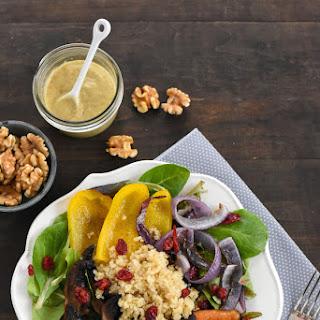 Roasted Vegetable & Quinoa Salad with Creamy Walnut Dressing.