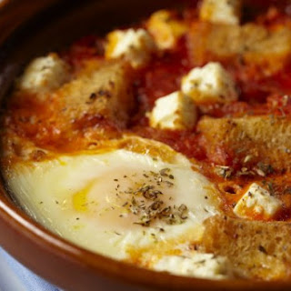 Baked Eggs With Tomato And Feta.