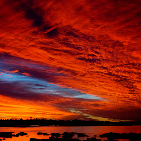 Fire in the sky by Emily James - Landscapes Sunsets & Sunrises ( sunset; fire in the sky; red sky; landscape;,  )