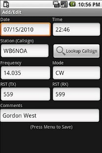 Amateur Radio Call Log - screenshot thumbnail