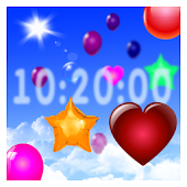 Balloons around clock