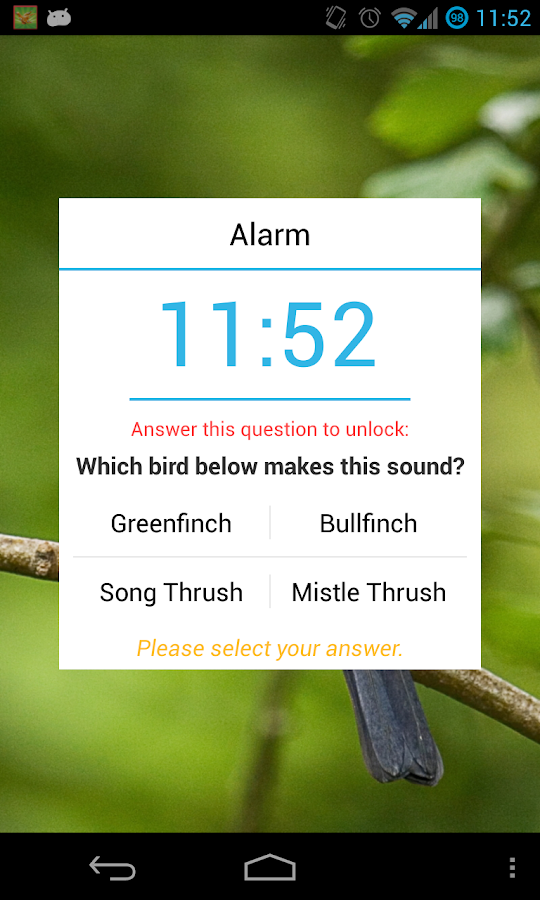 Bird Quiz Alarm Clock - screenshot