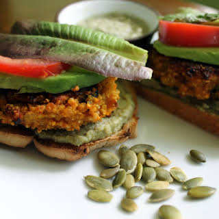 Best Quinoa Veggie Burgers and Pumpkin Seed-Onion Cream [Vegan, Gluten-Free].