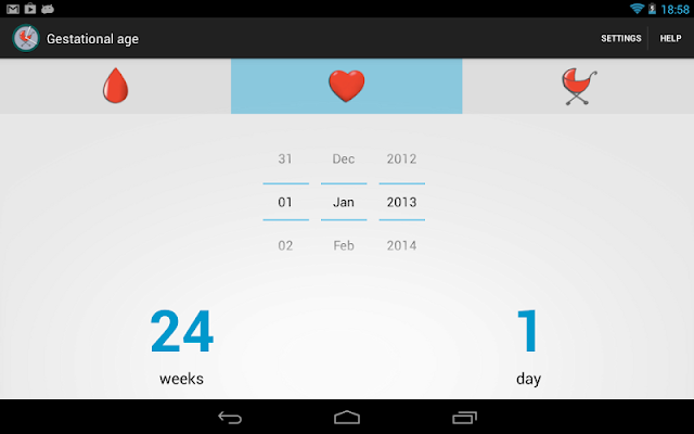 Gestational age - screenshot