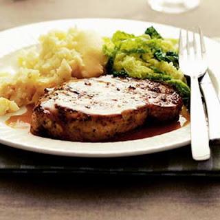 Pork Steaks With Gin & Coriander Sauce.