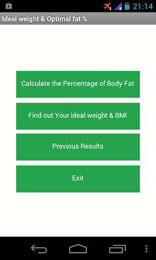 Ideal weight Optimal fat