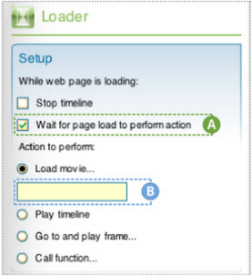 "Setup section of Loader component inspector in Flash with the ""Wait for page load to perform action"" checkbox highlighted, labeled A, and the ""Load movie"" text field highlighted as well and labeled B. ""Load movie..."" is next to a radio button under the heading ""Action to perform."""