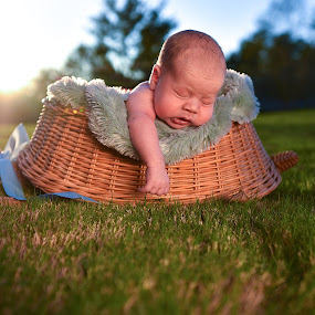Baby Boy at Sunset by Russell McFarland - Babies & Children Babies ( sunset, basket, sunshine, baskets, baby, turtle, baby boy, newborn )