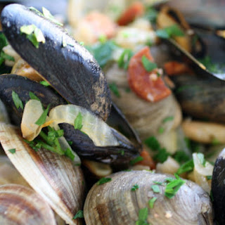 Chorizo-Steamed Mussels and Clams with White Beans
