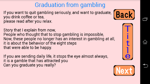 Graduation from gambling
