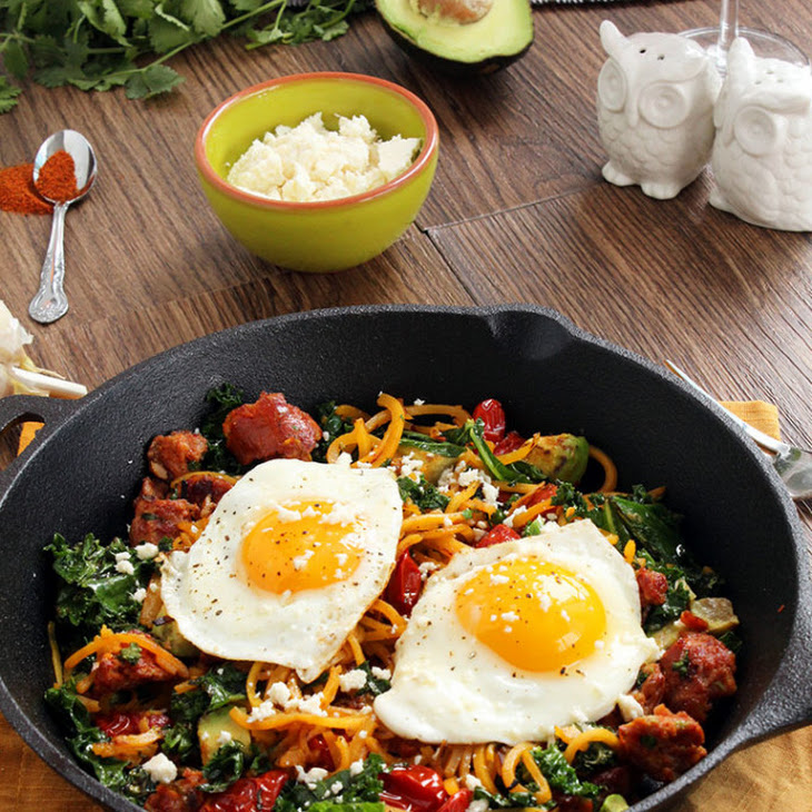 Food // SMOKED CHORIZO AND BUTTERNUT SQUASH NOODLE SKILLET