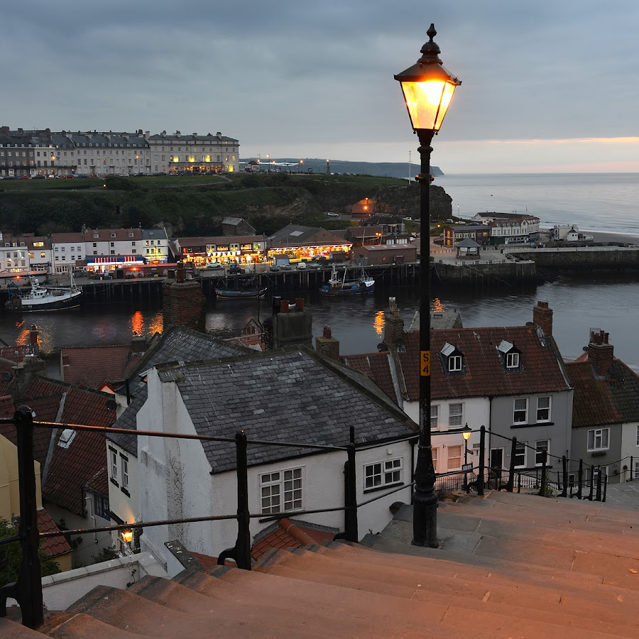 Whitby, North Yorkshire, England by Simon Harding - City,  Street & Park  Vistas ( water, harbor, harbour, simon harding, sea, whitby, north, dusk, coast, lights, england, yorkshire, nikon d800, evening )