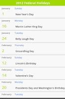 Screenshot of USA Holiday Calendar 2015