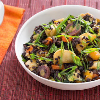 Stir-Fried Black Rice with Miso-Roasted Carrots & Tokyo Turnips.