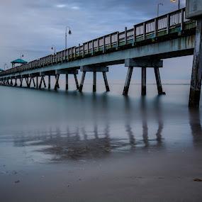 Buckroe Pier by Givanni Mikel - Buildings & Architecture Bridges & Suspended Structures ( pier, hampton, ocean, sunrise, beach, buckroe )