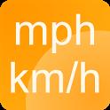 Simple speedometer km/h - mph icon