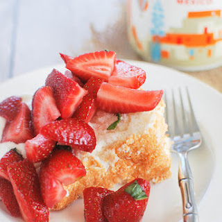 Lemon Angel Food Cake with Strawberries and Mint.