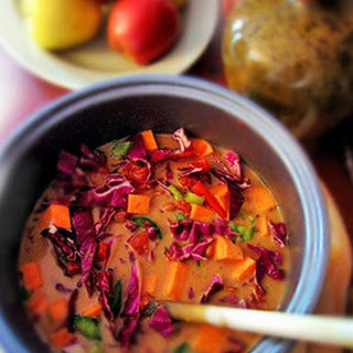 Purple Cabbage and Sweet Potato Soup with Peanut Butter