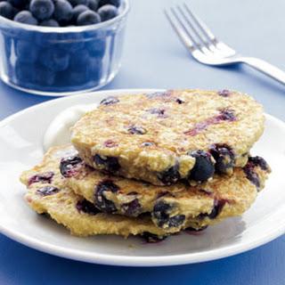 Blueberry Oat Pancakes with Maple Yogurt