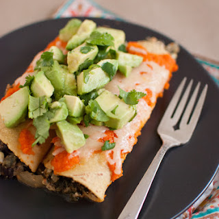 Black Bean Enchiladas with Roasted Red Pepper Sauce