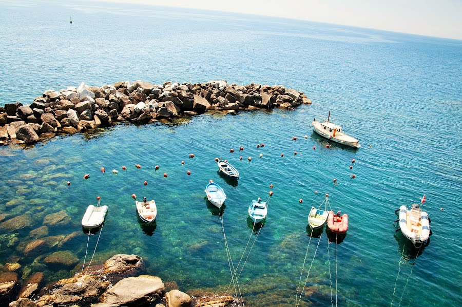 Boats by Marwa Ibrahim - Landscapes Waterscapes ( cinque terre, boats, sea, rocks, italy,  )