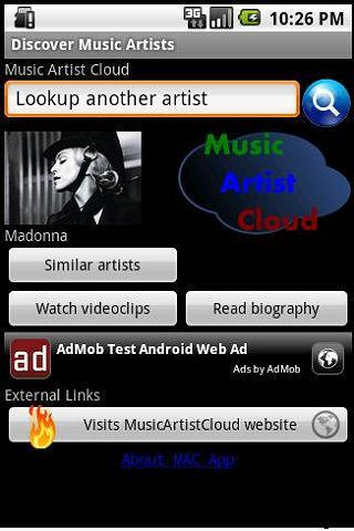 Music Artist Cloud App - screenshot