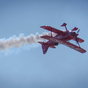 Oracle Stunt Plane  by Dory Formiller - Transportation Airplanes ( miramar, red, stunt plane, oracle, upside down, smoke, airshow )