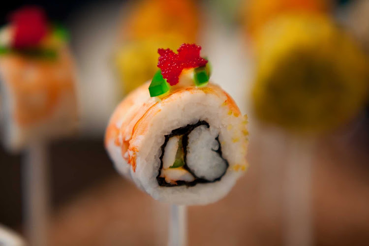 Lollipop meets sushi: The food presented in Celebrity Cruises's Qsine restaurant will not only taste amazing, it will visually excite you, too.