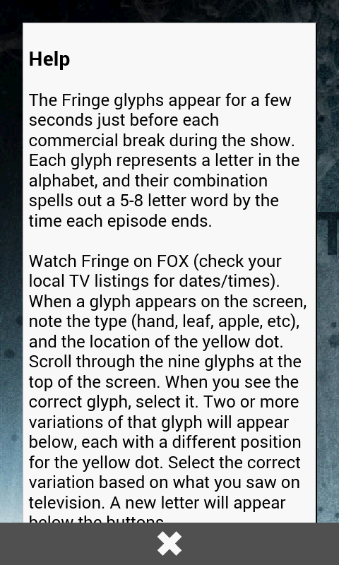 Fringe Glyph Translator- screenshot