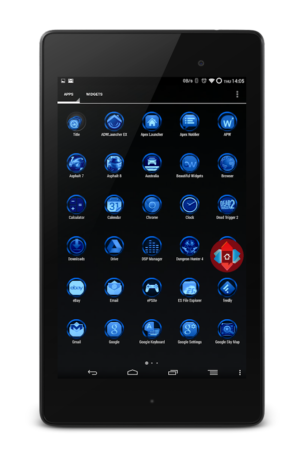 Chrome Sapphire Launcher Theme - screenshot