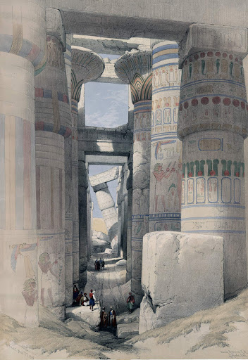 Karnak-Temple-tinted-lithograph - No, this isn't a photograph. It's a tinted lithograph created by artist David Roberts RA and lithographer Louis Haghe upon visiting the Hypostyle Hall of Karnak Temple at Luxor, Egypt, in 1838. They envisioned how the temple looked in ancient times.