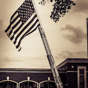 Memorial Day Salute by Edwin Montgomery - Transportation Other ( flag, fire station, memorial day 2014, memorial day, american flag, fire truck )