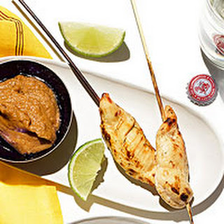Chicken Satay with Peanut Dipping Sauce.