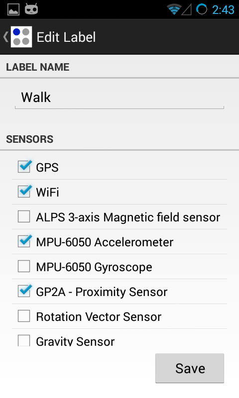 Sensor Log- screenshot